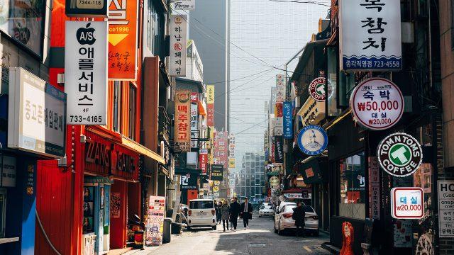 韓国の商店街の風景